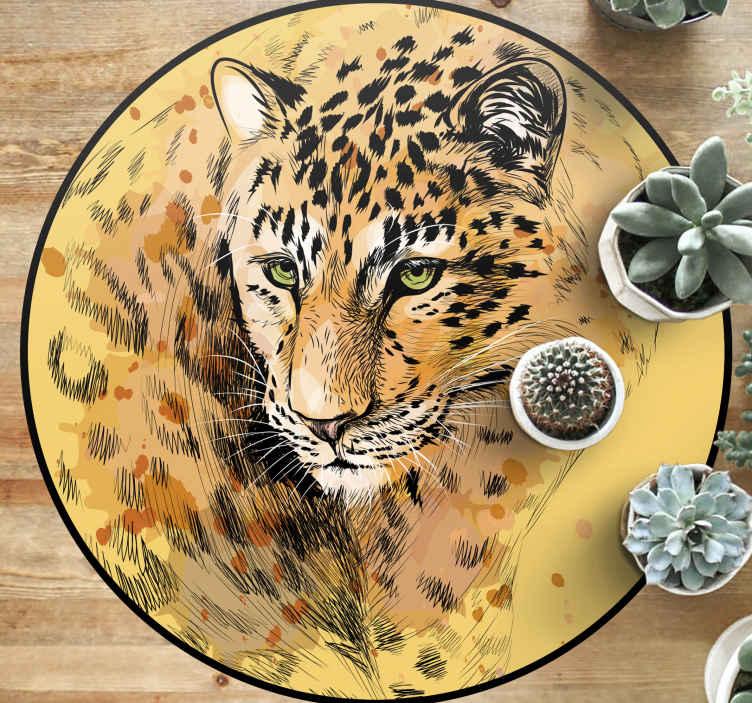 TenStickers. Tapete com estampa animal em forma de leopardo. Excelente piso de vinil em forma de leopardo de sala de estar muito incrível e colorido! Está a apenas um clique de distância! Compre agora online! Entrega ao domicílio!