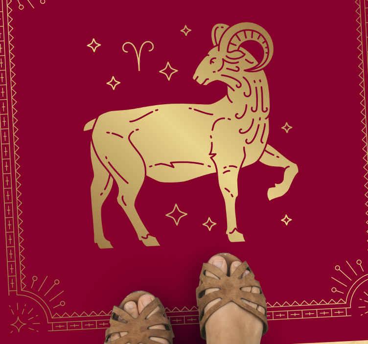 TenStickers. 白羊座波斯设计动物印花地毯. 白羊座是你的星座吗?还是你只爱白羊座?那么这就是您要寻找的动物印花乙烯基流苏地毯!现在下单!