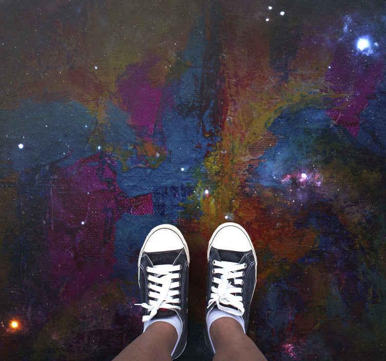 TenStickers. Tapete respingo abstrato tapetes contemporâneos. Tapete moderno com a ilustração de um desenho abstrato colorido que lembra uma galáxia, perfeito para você posicionar no seu quarto.