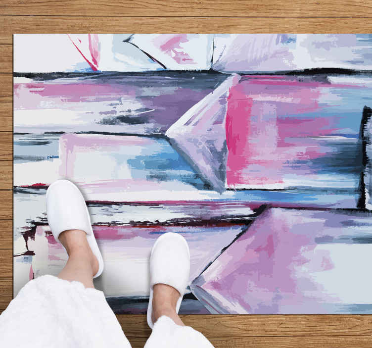 TenStickers. Tapetes contemporâneos abstratos multicoloridos. Tapete moderno abstrato multicolorido para animar a aparência do seu espaço de uma forma colorida. Pode servir como tapete de entrada, tapete de corredor, etc.