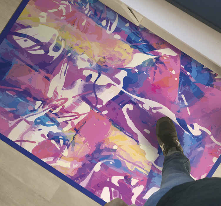 TenStickers. 抽象多彩色当代地毯. 抽象多彩色现代乙烯基地毯的家庭空间。这可以是您的厨房地板地毯,可用于就餐和房屋中的其他地方。