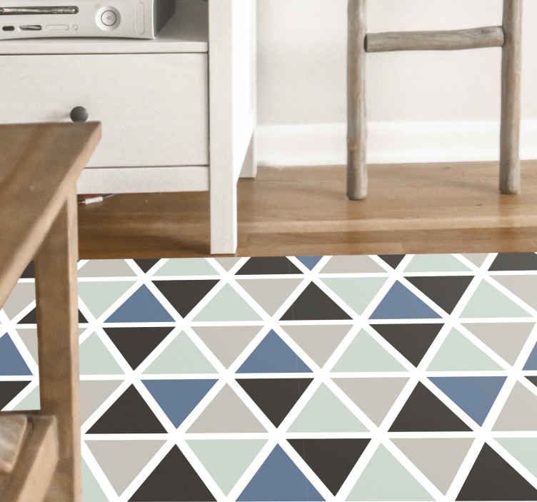 TenStickers. Gray and blue geometric pattern geometric carpets. Amazing geometric vinyl runner rug ideal for home and office  decoration. 