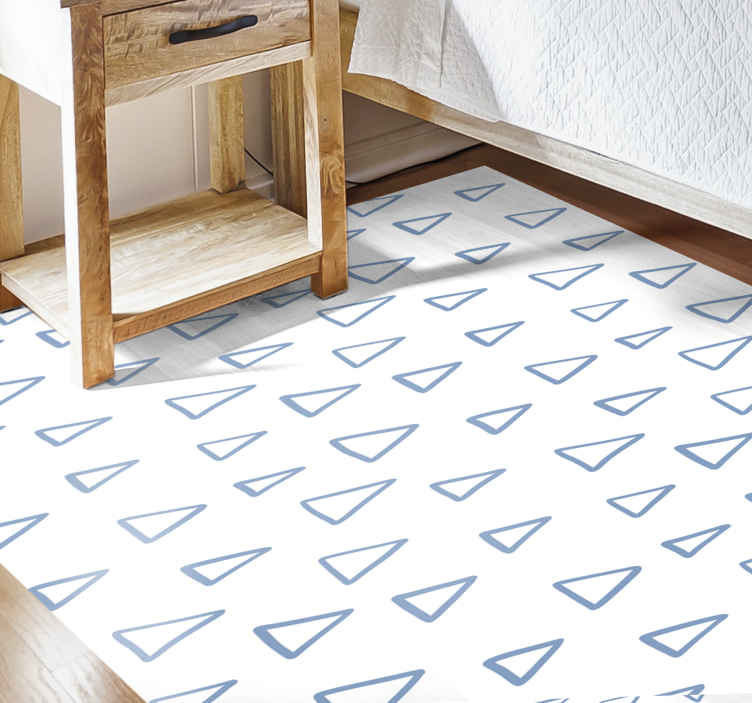 TenStickers. Nordic triangles geometric carpets. Fancy and amazing Nordic vinyl runner rug with a vintage touch.