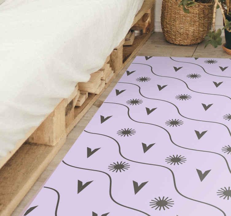 TenVinilo. Alfombra vinilo nórdica patrón soles. Alfombra vinílica geométrica de estilo nórdico rosa y gris ¡Perfecta para cualquier lugar de casa! Diseño con patrón de soles ¡Envío exprés!