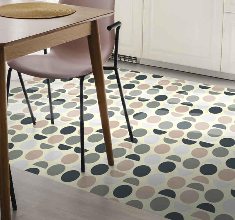TenVinilo. Alfombra vinilo geométrica círculos nórdicos. ¡Alfombra vinilo geométrica muy clásica y elegante! Ideal para tu cocina, comedor o salón ¡Consiga el suyo ahora en línea! ¡Envío exprés!