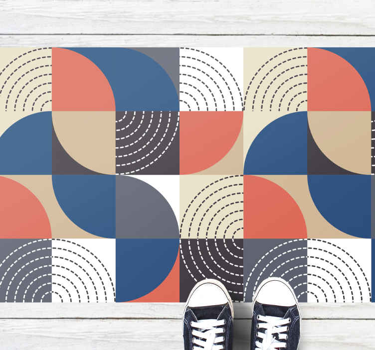 TenVinilo. Alfombra vinilo semicírculos nórdicos. Alfombra vinílica geométrica asombrosa y colorida con un toque vintage muy artístico y relajante. Elige tus medidas ¡Envío exprés!