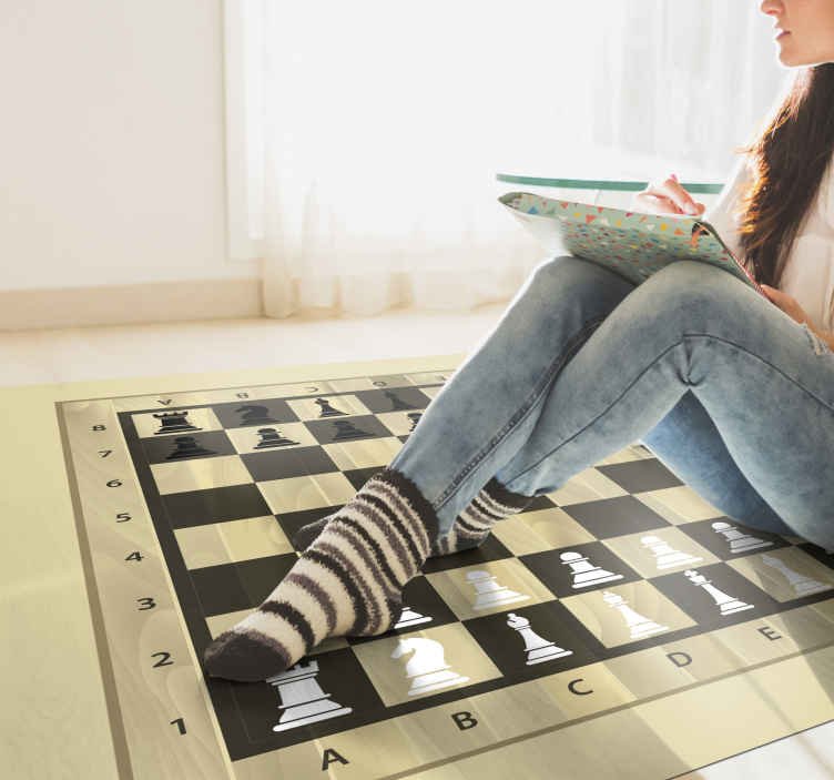 TenStickers. Chess board and pieces game vinyl rug. Living room vinyl flooring with a chess pattern. Buy now online! Easy to apply! Home delivery! Buy it right now because it's just one click away