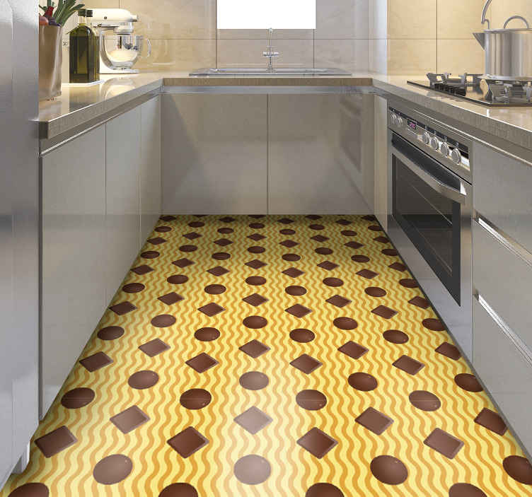TenStickers. Chocolate shapes kitchen vinyl rug. This particular design of a kitchen vinyl rug was inspired by everybody's favourite sweetie - chocolate, on a yellow background. Home delivery!