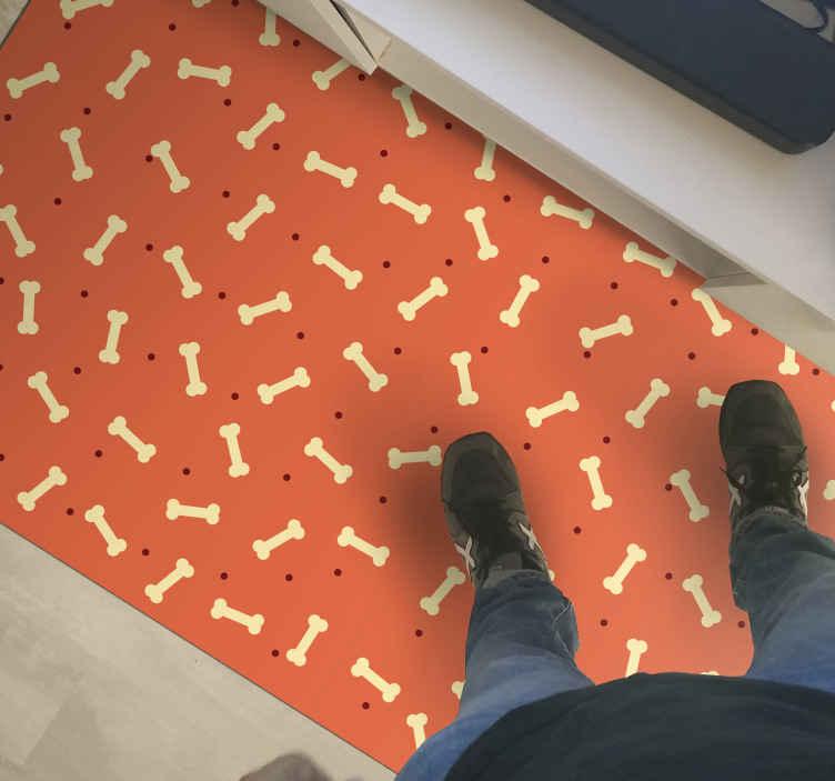 TenStickers. 黄狗骨头动物垫. 你是爱犬吗?如是!然后将这种狗骨头动物乙烯基地毯添加到您的购物车中,以便立即在网站上购买。其高质量和耐用性。