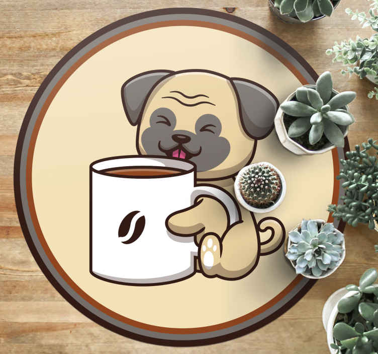 TenStickers. Coffee Pug animal vinyl rug. Take a look at this animal vinyl rug which represents a pug puppy holding a big cup of coffee with a coffee bean on it. Available in different sizes!