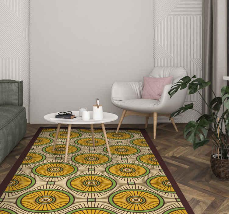 TenVinilo. Alfombra vinilo mosaico estilo tabriz. Decora tu casa con esta increíble alfombra vinilo mosaico tabriz con formas circulares en tonos naranjas ¡Descuentos disponibles!
