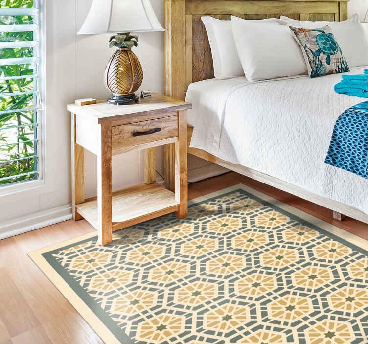 TenStickers. 马赛克地毯马赛克乙烯基地板. 与样式的葡萄酒乙烯基地板,在蓝色和黄色的马赛克的例证,装饰您的卧室,客厅或您要更新的任何空间。