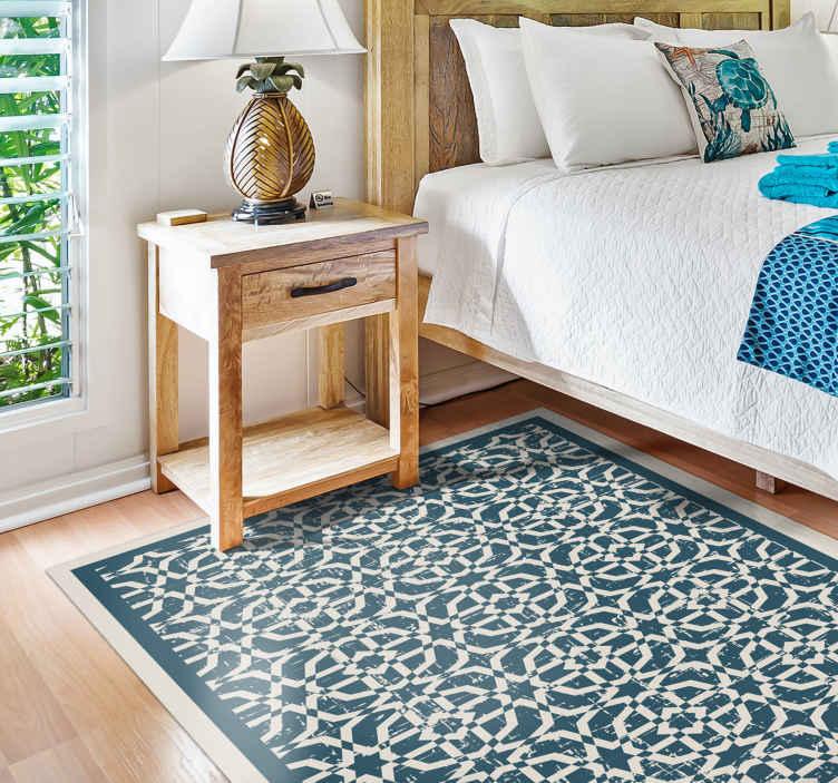 TenStickers. 八角形区域地毯马赛克乙烯基地板. 八角形装饰的蓝色乙烯基地毯,白色细节非常适合您在卧室,客厅或任何其他空间使用。