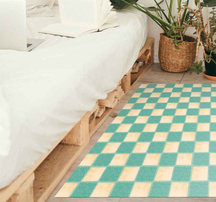 TenStickers. CHECKERED PAST AREA RUG mosaic vinyl flooring. Rectangular vinyl rug with the illustration of white and blue squares, perfect for you to decorate your bedroom, living room, dining room or any space