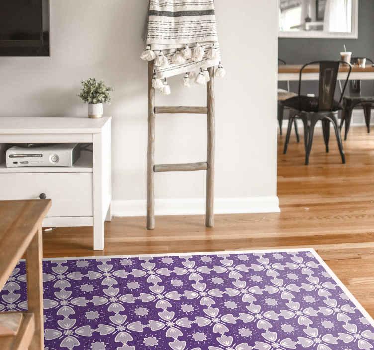 TenVinilo. Alfombra vinilo floral tonos morados. Decora tu habitación con esta increíble alfombra vinílica vintage ¡No espere más y solicite su nuevo diseño hoy! ¡Elige medidas!