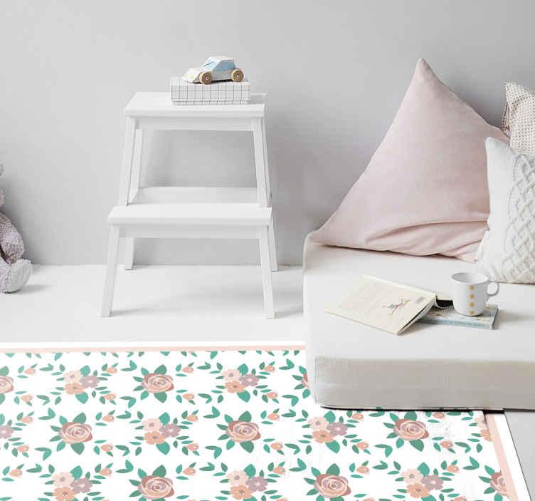 TenVinilo. Alfombra vinilo mosaico patrón de rosas. ¡Alfombrilla vinilo mosaico de rosas vintage para decorar ahora tu casa de forma bonita y original! ¡Descuentos disponibles! ¡Elige medidas!