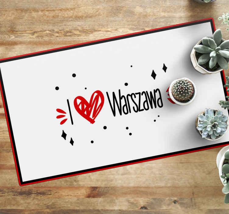 """TenStickers. 我爱华沙定制的乙烯地毯. 可爱的乙烯基地板垫,可在房屋的任何房间或空间中装饰。它的文字设计写着""""我爱华沙""""。"""