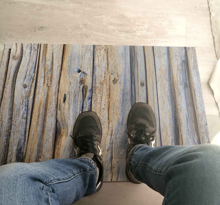 TenStickers. Wooden logs 3d texture wood effect vinyl flooring. A very original decorative 3d vinyl rug product that will really give your home more light! Worldwide delivery is available for this nice product.