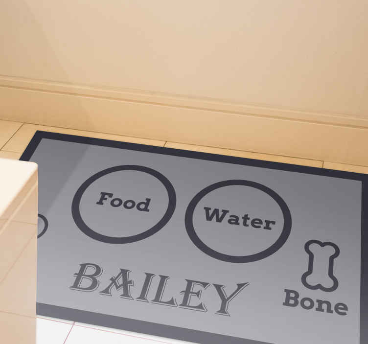 TenStickers. Food  water bone animal vinyl rug. Grey colour of an animal vinyl rug with black text and circles to mark where the food, water and bone are with your pet's name on the bottom!