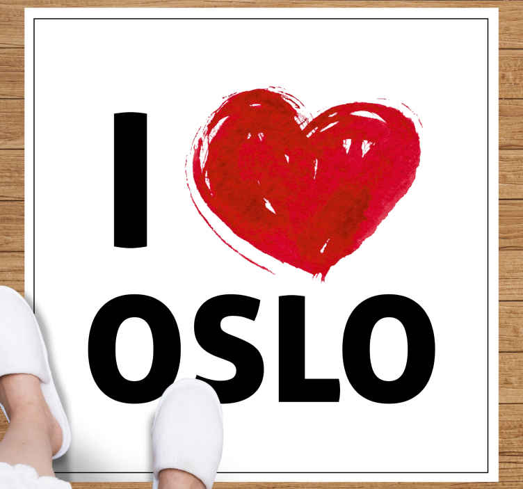 """TenVinilo. Alfombra vinilo nórdica frase I love Oslo. ¡Alfombra vinilo nórdica con frase """"I love Oslo"""" totalmente ideal para su entrada, cualquier habitación en el hogar y la oficina! ¡Envío exprés!"""