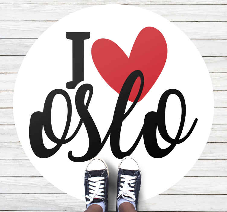 "TenVinilo. Alfombra vinilo frase I love Oslo. Increíble alfombra vinilo frase para decorar tu hogar con el texto ""I love Oslo"" con corazón sobre fondo blanco ¡Descuentos disponibles!"