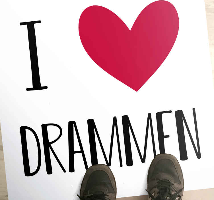 """TenStickers. I love Drammen nordic style rugs. Original vinyl rug with the illustration of the text """"I love Drammen"""" where you will express your love for this Norwegian town. Personalised stickers."""