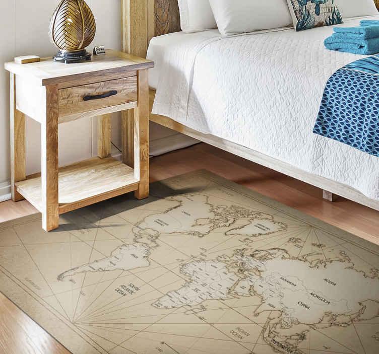 TenVinilo. Alfombra vinilo mapamundi siglo XIX. Preciosa alfombra vinilo mapamundi de estilo retro adecuada para decorar cualquier lugar de una casa y para una oficina ¡Envío exprés!