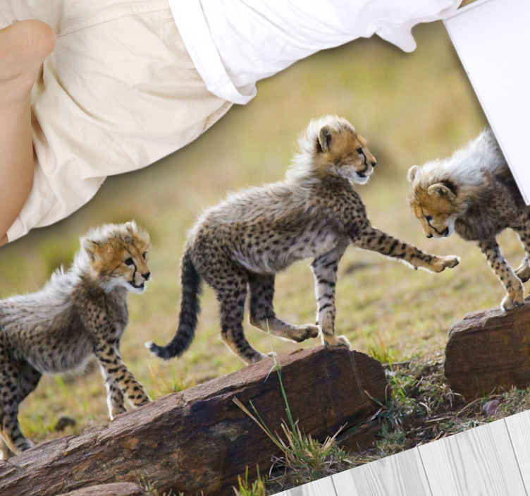 TenStickers. Animal cute cheetah cubs animal mat. This very perfect looking cheetah vinyl rug product will last a very long time in your home! Make this perfect design yours now!