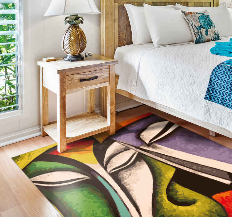 TenStickers. 现代艺术面对当代地毯. 带有艺术抽象脸部设计的乙烯基地板地毯。艺术品以彩色印象制成,这将使放置在其上的任何空间脱颖而出。