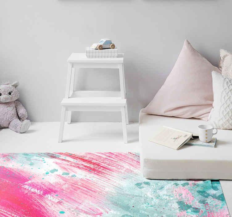 TenStickers. 现代艺术多彩飞溅当代地毯. 现代艺术彩色飞溅乙烯基地毯-这种地毯非常适合儿童卧室,游戏室以及您希望为之增色的任何空间。