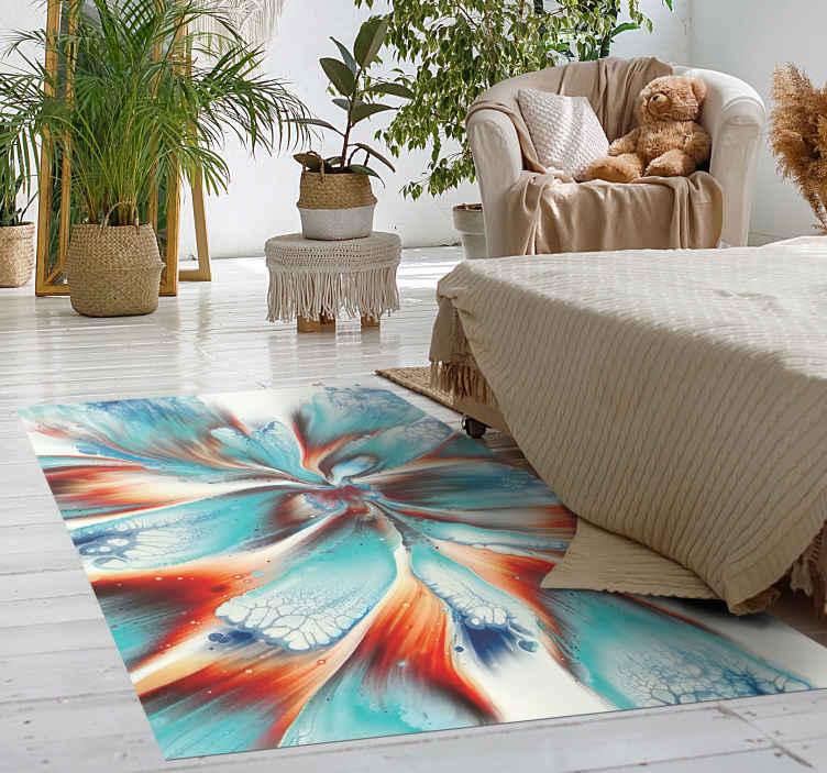 TenStickers. Tapete vinil para gabinete Flores coloful de arte moderna. Arte moderna flores coloridas tapete moderno - isso deixaria seu espaço com uma impressão adorável. Feito de material de qualidade e duradouro.