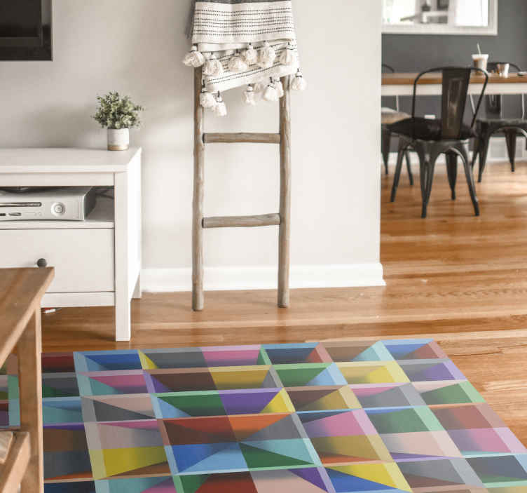 TenStickers. Modern art colorful cube holes contemporary rug. Modern art colorful cube holes modern rug - This would be nice for children space, for bedroom, playroom and other space.