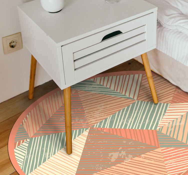 TenStickers. 现代艺术的几何形状乙烯基地毯. 现代乙烯基地毯的这种特殊设计来自于我们收集的几何形状和抽象色彩!圆形可以调节!