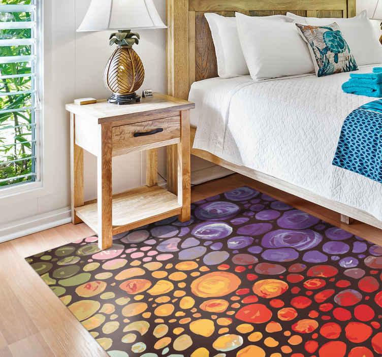 TenStickers. 现代艺术多彩点乙烯基地毯. 现代乙烯基地毯的这种特殊设计说明了气泡的颜色从红色变为橙色,再到紫色和绿色。提供多种尺寸!