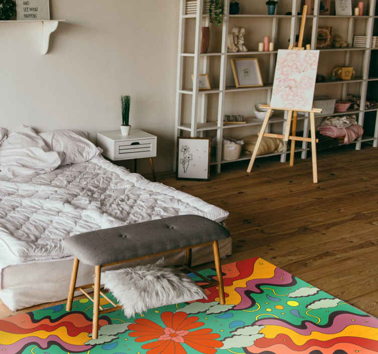 TenStickers. Modern art psychedelic vinyl rug. This particular design was inspired by multi fluid multicolours in different shapes and forms, together creating an original piece. Must buy now!