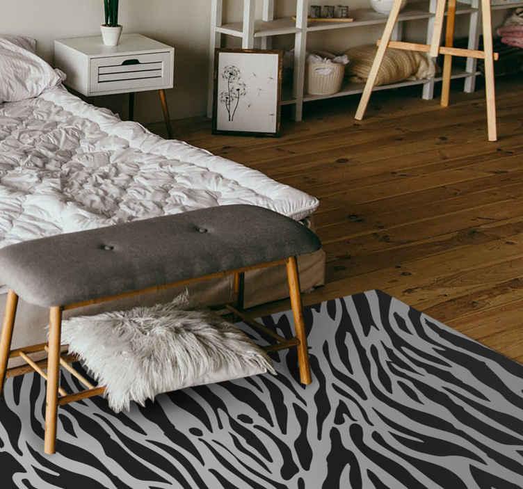 TenVinilo. Alfombra vinilo animal print cebra gris. Muy atractiva alfombra vinilo animal print de cebra gris con la que podrás decorar el suelo de tu casa de forma original ¡Envío exprés!