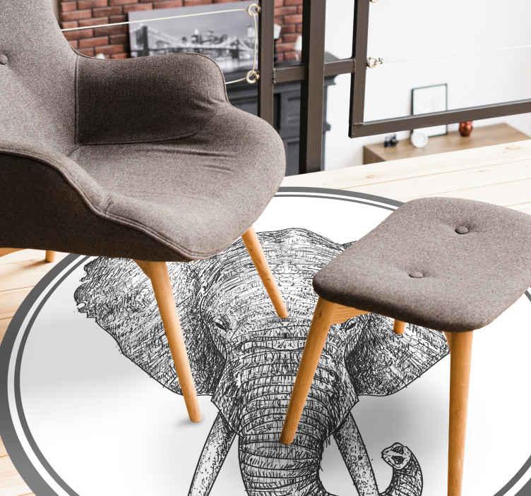 TenVinilo. Alfombra vinilo animales de elefante gris. Una alfombra vinilo animales de elefante: imagine el aire y la impresión que este diseño creará en un casa ¡Descuentos disponibles!