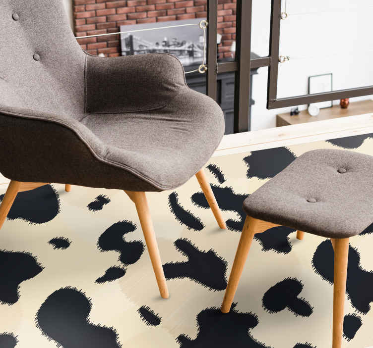 TenStickers. White cow texture animal print carpet. White cow texture animal print vinyl rug - This carpet imitates the skin of a cow and your guest would mistake it for true animal skin.
