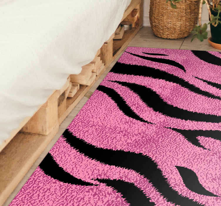 TenStickers. Pink tiger skin animal print carpet. Pink tiger skin animal print vinyl rug to add a lovely look and effect on your home or office space. This can serve as a lounge rug,  room carpet, etc.
