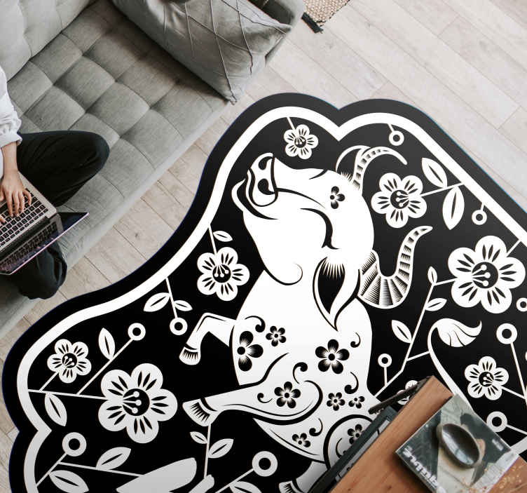 TenStickers. Classic cow animal print carpet. An irregular vinyl floor carpet  illustrated with design of a cow and other ornamental illustrations. Available in different sizes and easy to clean.