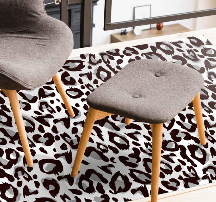 TenStickers. Tapete de vinil leopardo preto com estampa animal. Este adorável tapete de vinil com estampa animal tem um fundo branco com pequenas manchas de leopardo em preto e cinza por todo o lado. Disponível em vários tamanhos!