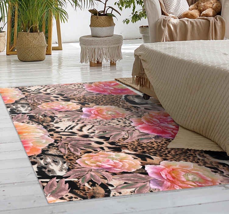 TENSTICKERS. 花柄ヒョウ皮アニマルプリントビニールラグ. 動物のビニールラグのこの特定のデザインは、花の組み合わせで自然な色のヒョウに触発されています。宅配!