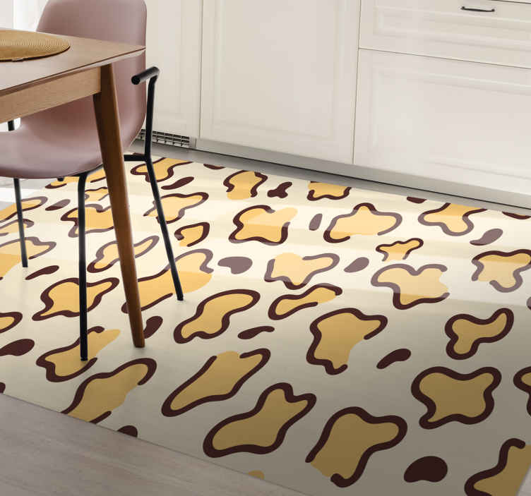TenStickers. 长颈鹿点动物打印乙烯基地毯. 这种动物乙烯基地毯看起来像是长颈鹿着名的浅黄色米色背景上的斑点。这些斑点有较薄,较深的寄宿生。送货上门!