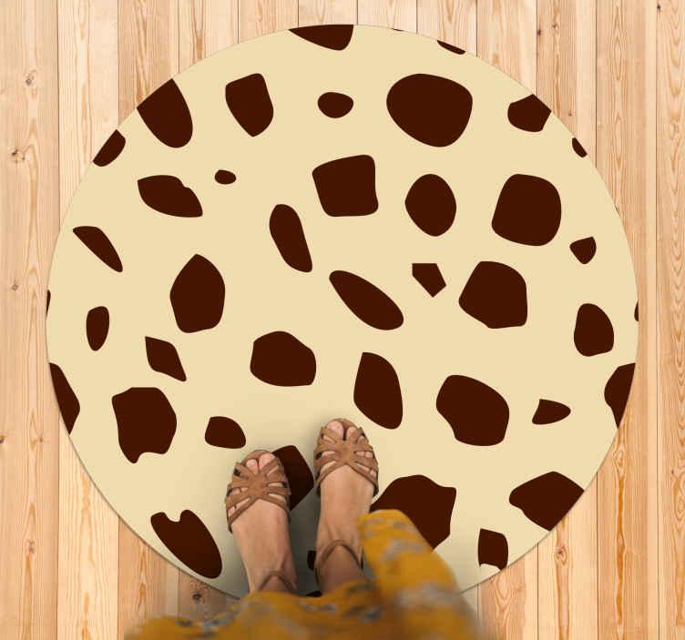 TenVinilo. Alfombra vinilo redonda patrón jirafa. Alfombra vinilo redonda con estampado de animales con manchas de jirafa: puede ser ideal para la entrada y cualquier otra estancia ¡Envío exprés!