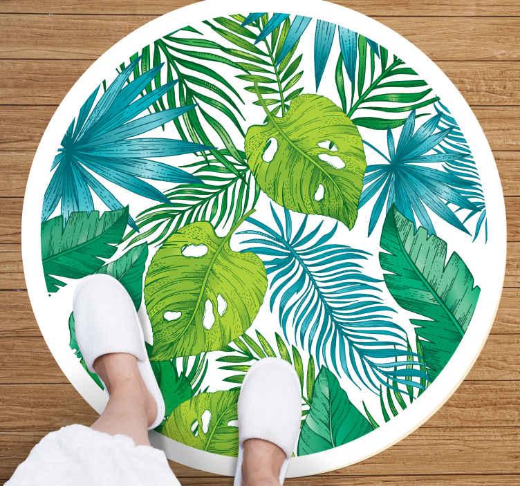 TenVinilo. Alfombra vinilo naturaleza hojas tropicales . Esta alfombra vinilo naturaleza con motivos exóticos será perfecta para tu dormitorio. Elige las medidas ¡Descuentos disponibles!