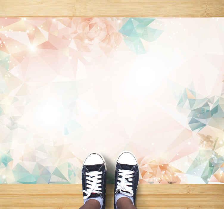 TenVinilo. Alfombra vinilo formas geométricas delicadas. Esta alfombra vinilo geométrica es delicada y sutil con formas artísticas y gráficas en colores pastel. El fondo es blanco ¡Elige tus medidas!