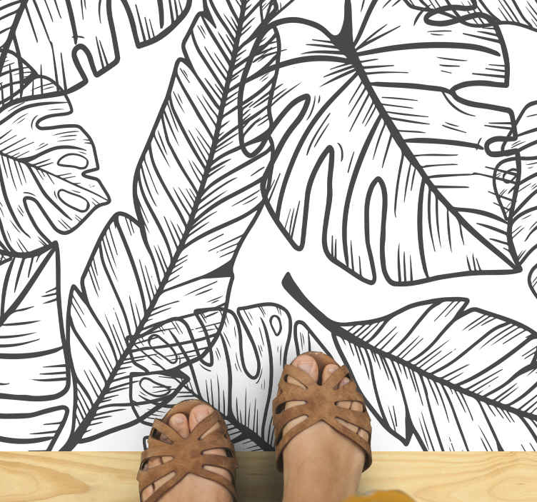 TenVinilo. Alfombra vinilo naturaleza silueta hojas. Alfombra vinilo naturaleza es justo lo que necesitas en tu hogar, basada en un fondo blanco con grandes hojas de tonos blancos y negros.