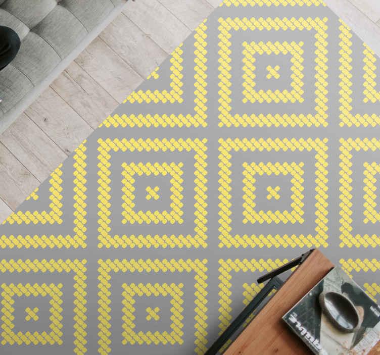 TenVinilo. Alfombra vinilo geométrica cuadrados pantone. Alfombra vinilo geométrica de pantone gris y amarillo: el producto está hecho con material de calidad y dura mucho tiempo ¡Envío exprés!
