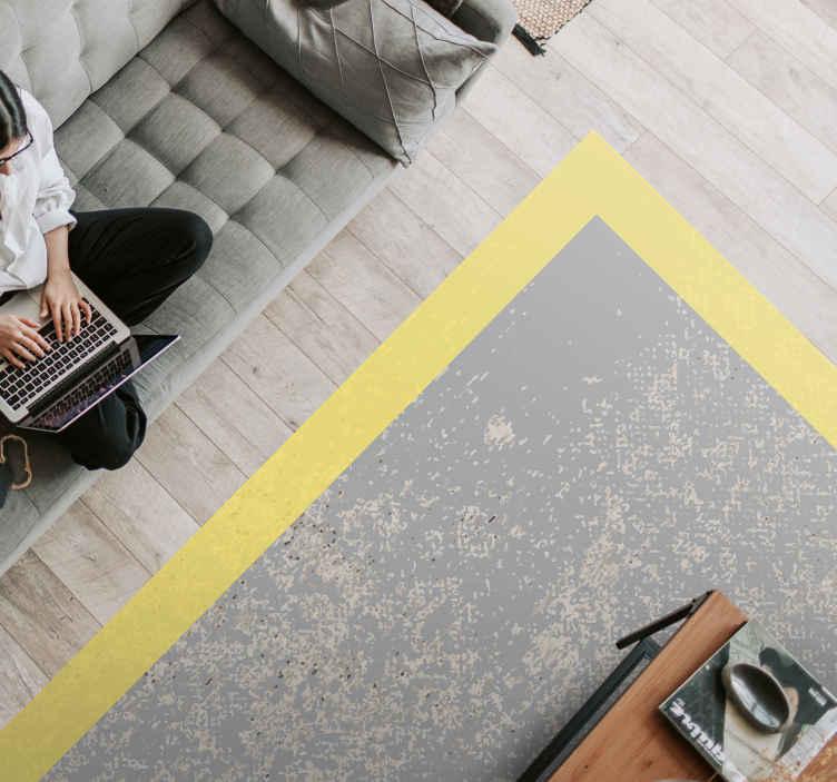 TenVinilo. Alfombra vinilo geométrica pantone iluminador. Alfombra vinilo geométrica rectangular de tonos pantone iluminador y gris fácil de mantener y hecha de material de la mejor calidad ¡Envío exprés!