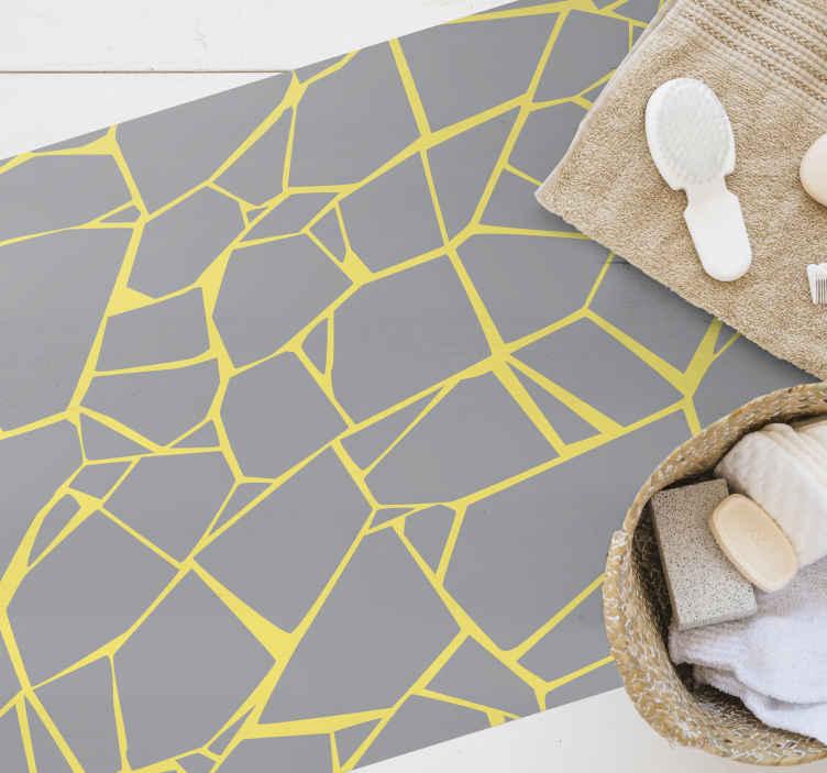 TenStickers. Pantone taşlar taş döşeme. Bir soyut sarı tasarım vinil zemin halısı. Bu, evdeki herhangi bir zemin alanını dekore etmek ve aynı zamanda başka herhangi bir alan için de uygun olur.